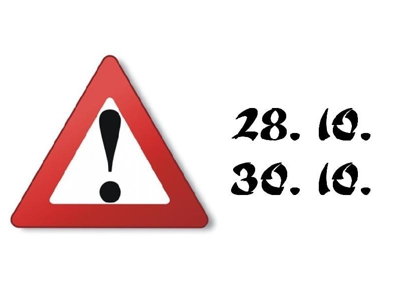Pozor, 28. a 30. 10. odpadají tréninky