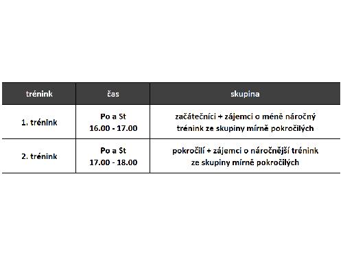 Informace o trénincích v následujících týdnech