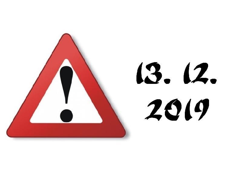 V pátek 13. 12. proběhne trénink v Jihlavě